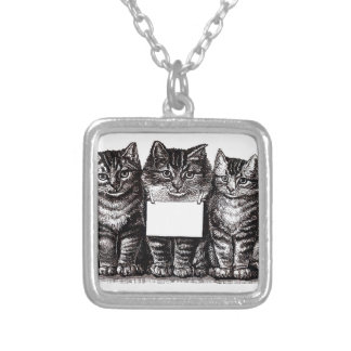 Vintage Kittens Silver Plated Necklace