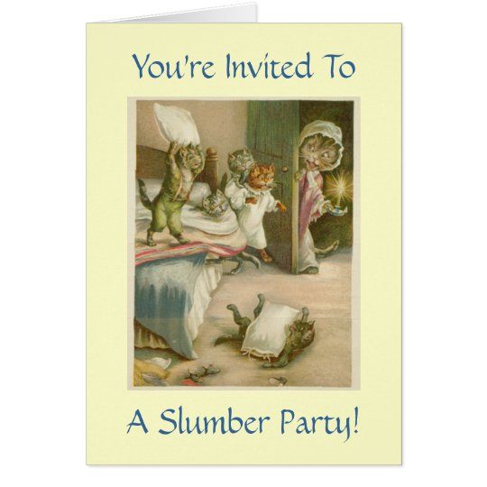 Vintage Kittens Slumber Party Invitation