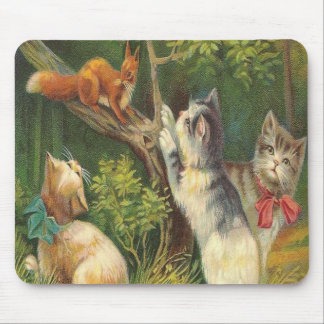 Vintage , Kittens, Squirrel , Tree, Mousepad