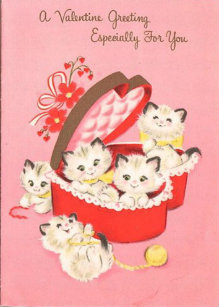 Vintage Kittens Valentine's Day Card