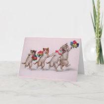 Vintage Kittens With Bouquets Mother's Day Card