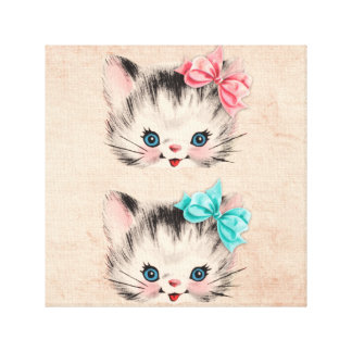 Vintage Kitty Gallery Wrap Canvas