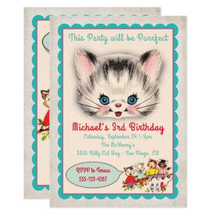 Kitten birthday invitations zazzle vintage kitty cat birthday party invitation filmwisefo