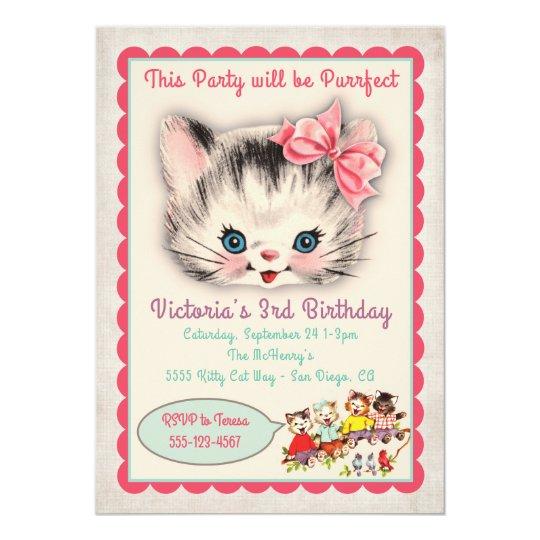Vintage kitty cat birthday party invitation zazzle vintage kitty cat birthday party invitation filmwisefo