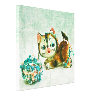Vintage Kitty Cat Stretched Canvas Prints