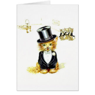 Vintage Kitty cat in a Top Hat Card