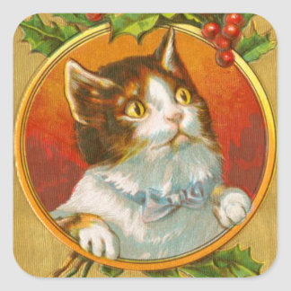 Vintage kitty cat merry christmas holiday sticker