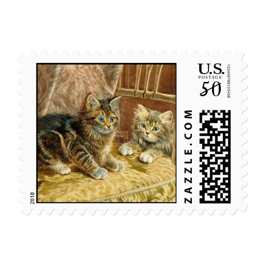 Vintage Kitty Cats Stamps - Victorian Cat Art