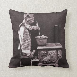 Vintage Kitty Cooking On Stove Throw Pillow