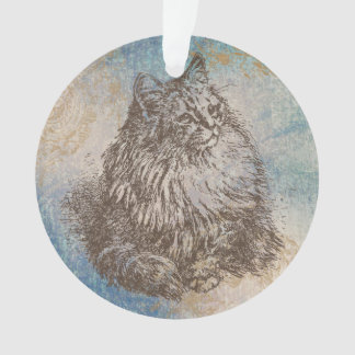 Vintage Kitty in blue, brown and gold Ornament