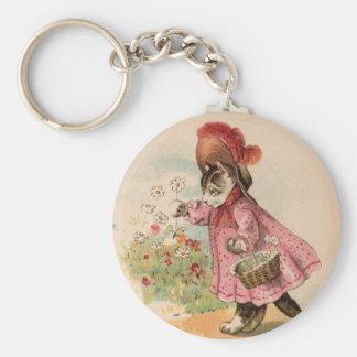 Vintage Kitty Basic Round Button Keychain