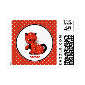 Vintage Kitty Valentine's Day Postage Stamps