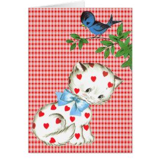 Vintage Kitty with a Bird Valentine Cards