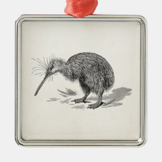 Vintage Kiwi Bird Antique Birds Template Square Metal Christmas Ornament