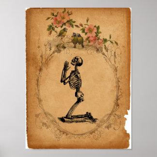 Vintage Kneeling Skeleton Poster