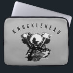 "Vintage Knucklehead Motorcycle Engine Computer Sleeve<br><div class=""desc"">Posterized (black and light gray) image of vintage knucklehead motorcycle engine, with text KNUCKLEHEAD in black with light gray outline, above it. Great looking sleeve for fans of the knucklehead motor. The distinctive shape of the valve covers, having contours resembling knuckles on a person&#39;s fist, gave this engine its nickname....</div>"