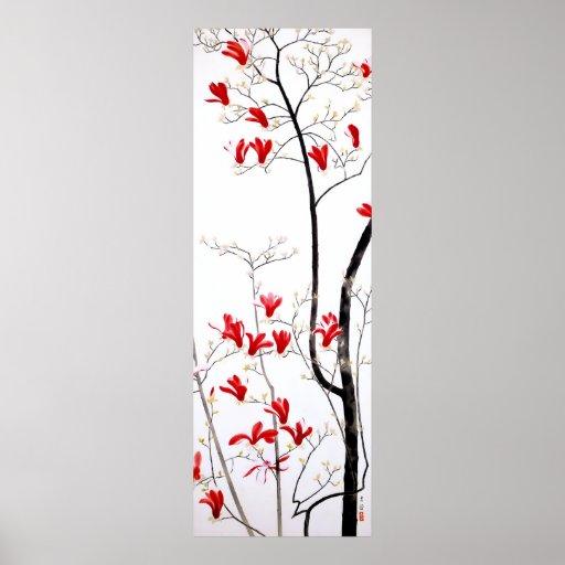 Vintage Kobayashi Kokei del árbol de la magnolia Posters