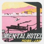 Vintage Kobe Japan Hotel Square Stickers