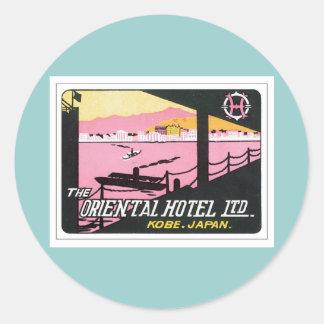 Vintage Kobe Japan Hotel Round Sticker
