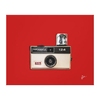 Vintage Kodak Instamatic Red Background Canvas Print