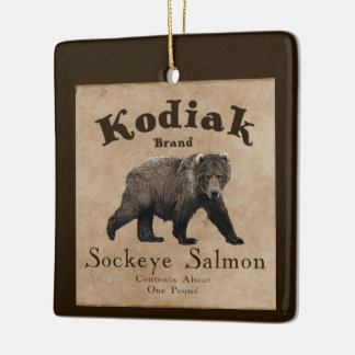 Vintage Kodiak Salmon Label Ceramic Ornament