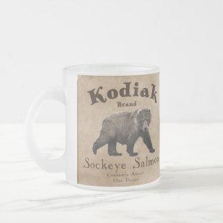 Vintage Kodiak Salmon Label Frosted Glass Coffee Mug