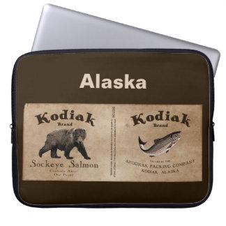 Vintage Kodiak Salmon Label Laptop Sleeves