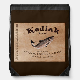 Vintage Kodiak Salmon Label Cinch Bag
