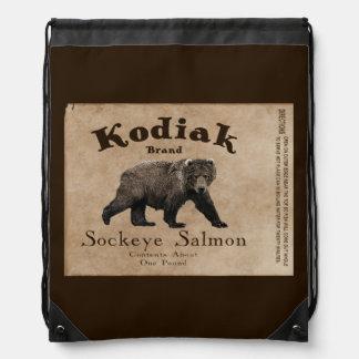 Vintage Kodiak Salmon Label Drawstring Bags
