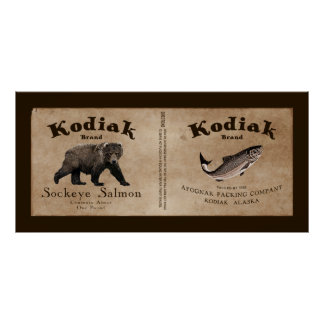Vintage Kodiak Salmon Label Posters