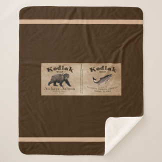 Vintage Kodiak Salmon Label Sherpa Blanket