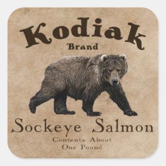 Vintage Kodiak Salmon Label Square Sticker