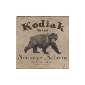 Vintage Kodiak Salmon Label Stone Magnet