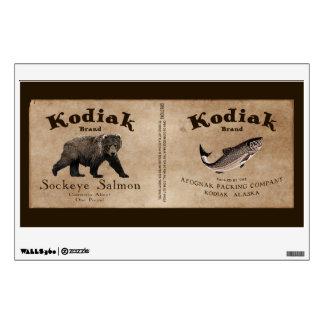 Vintage Kodiak Salmon Label Wall Sticker