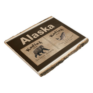 Vintage Kodiak Salmon Label Wood Panel