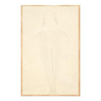 Vintage koi carp painting old paper scroll art