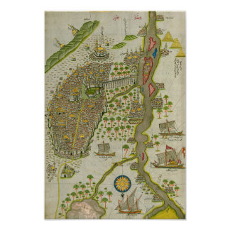 Vintage Koranic Map Of The Nile Poster