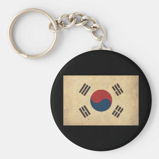 Vintage Korea Flag Basic Round Button Keychain