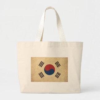 Vintage Korea Flag Large Tote Bag