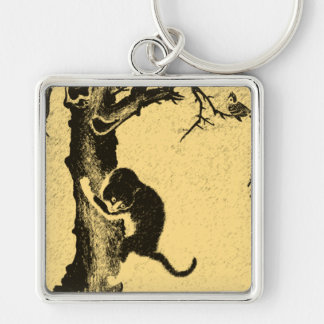 Vintage Korean Cat Art Keychain