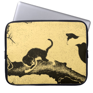 Vintage Korean Cat Art Laptop Sleeve