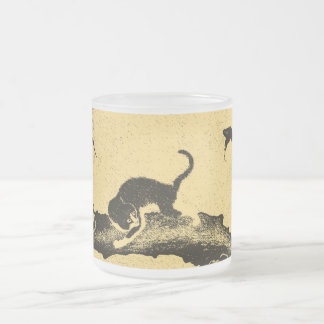 Vintage Korean Cat Art 10 Oz Frosted Glass Coffee Mug