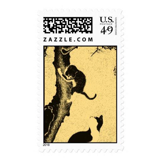 Vintage Korean Cat Art Postage Stamps