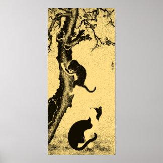 Vintage Korean Cat Art Poster