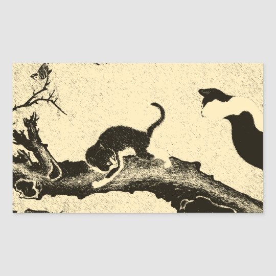 Vintage Korean Cat Art Rectangular Sticker
