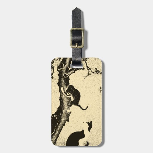 Vintage Korean Cat Art Tag For Luggage