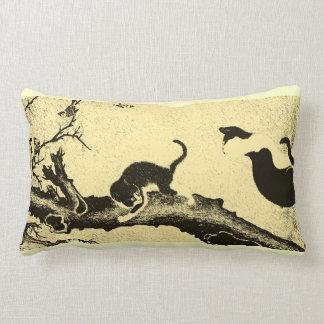 Vintage Korean Cat Art Throw Pillow