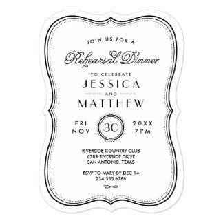 Vintage Kraft Art Deco Wedding Rehearsal Dinner Card