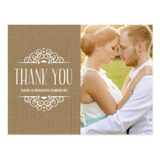 Vintage Kraft Paper Photo Thank You Post Cards