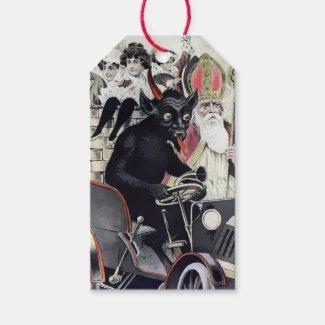 Vintage Krampus and Santa Gift Tags